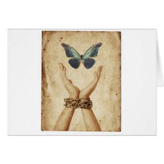 Cartão Mão acorrentada com a borboleta que paira acima