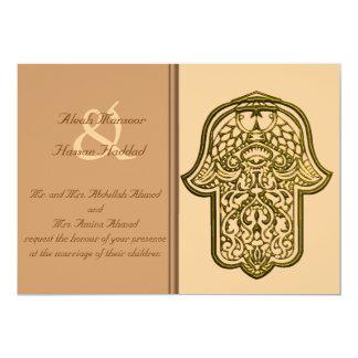 Cartão Mão do Henna de Hamsa (ouro) (casamento)