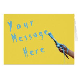 Cartão Mão genérica da mensagem que pinta o texto azul