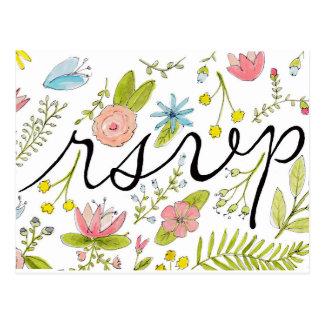 Cartão mão-ilustrado floral do rsvp cartão postal