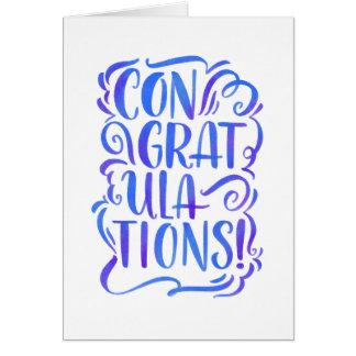 cartão Mão-indicado por letras dos parabéns