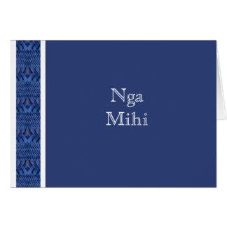 CARTÃO MAORI:  Cartão azul de Nga Mihi