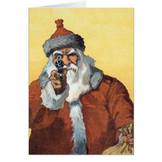 Cartão Mãos acima! - Como Papai Noel olha a alguns de nós