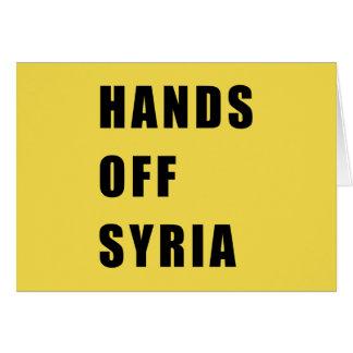 Cartão Mãos fora de Syria