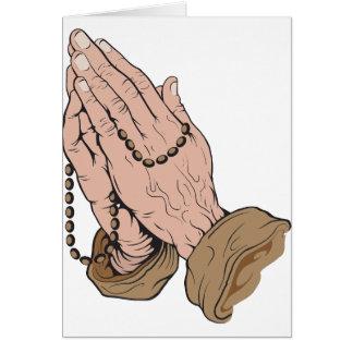 Cartão Mãos Praying com miçanga