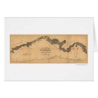 Cartão Mapa 1839 da estrada de ferro de Gettysburg