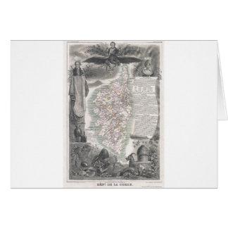 Cartão Mapa 1852 de Córsega