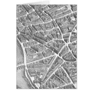 Cartão Mapa aéreo de Paris do vintage