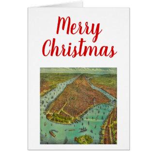 Cartão Mapa antigo da Nova Iorque do Natal