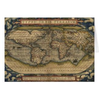 Cartão Mapa antigo do mundo