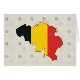 Cartão Mapa da bandeira de Bélgica sem redução