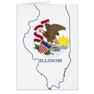 Cartão Mapa da bandeira de Illinois