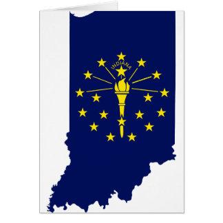 Cartão Mapa da bandeira de Indiana