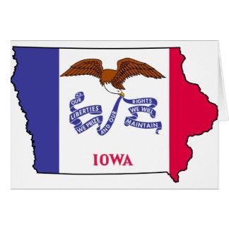 Cartão Mapa da bandeira de Iowa