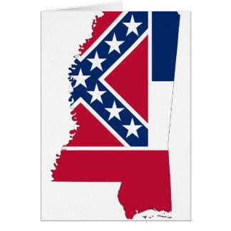 Cartão Mapa da bandeira de Mississippi
