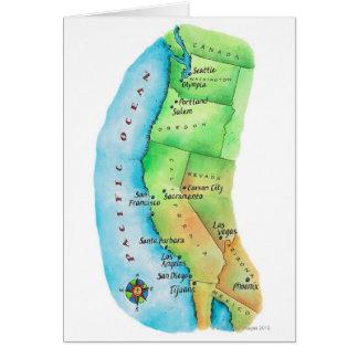 Cartão Mapa da costa oeste americana