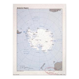 Cartão Mapa da Região antárctica (1982)