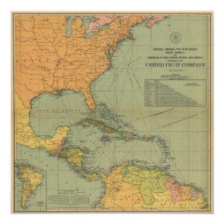 Cartão Mapa de América Central & de Arredores (1909)