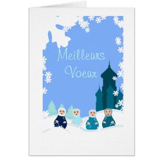 Cartão mapa de desejos bonecas russas azuis