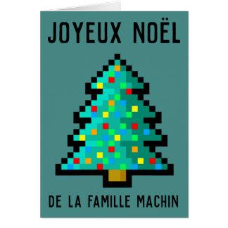 Cartão Mapa de desejos Felizes Natal - pixel arte abeto 8