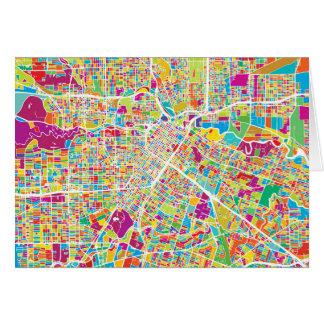 Cartão Mapa de néon de Houston, Texas |