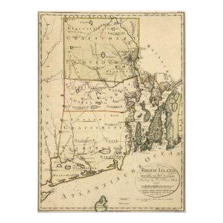 Cartão Mapa de Rhode - ilha por Carl Ernst Bohn (1797)