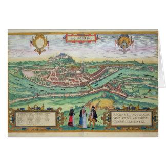 """Cartão Mapa de Salzburg, de """"Civitates Orbis Terrarum"""" b"""