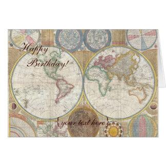 Cartão Mapa de Velho Mundo histórico, 1794 - feliz