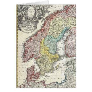 Cartão Mapa do escandinavo do vintage