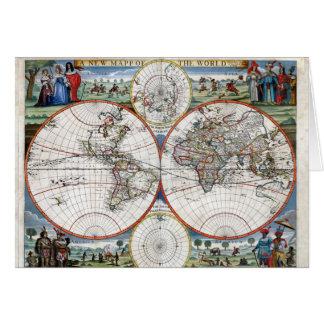 Cartão Mapa do mundo 1676