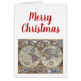 Cartão Mapa do mundo antigo #3 do Xmas do Natal