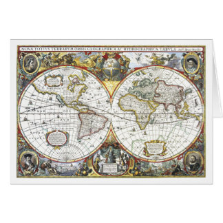 Cartão Mapa do mundo antigo por Hendrik Hondius, 1630