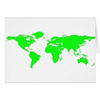 Cartão Mapa do mundo branco verde