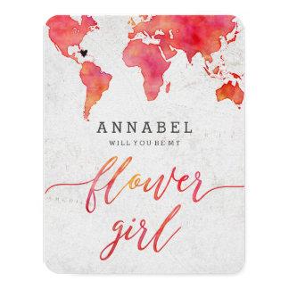 Cartão Mapa do mundo da aguarela você será meu florista