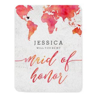 Cartão Mapa do mundo da aguarela você será minha madrinha
