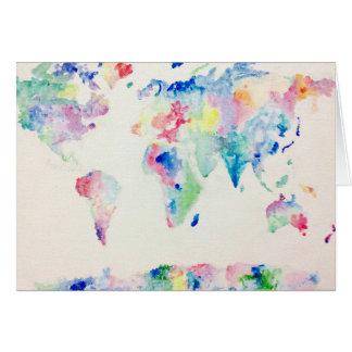 Cartão mapa do mundo da cor de água