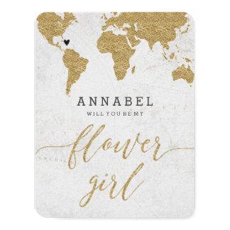 Cartão Mapa do mundo da folha de ouro você será meu