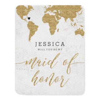 Cartão Mapa do mundo da folha de ouro você será minha