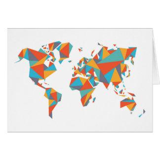 Cartão Mapa do mundo geométrico abstrato