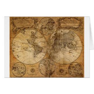 Cartão Mapa do mundo velho do vintage