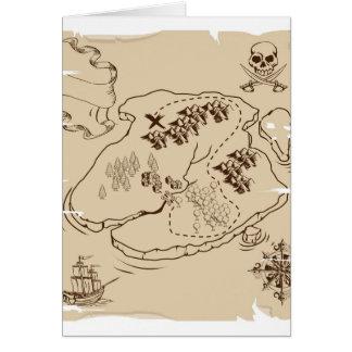 Cartão Mapa do tesouro do pirata do YE Olde