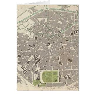 Cartão Mapa do vintage de Bruxelas (1837)