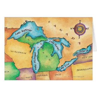 Cartão Mapa dos grandes lagos