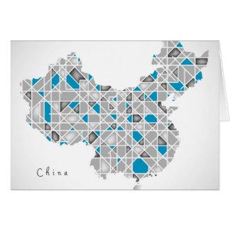 Cartão Mapa dos trabalhos de arte de cristal do estilo do