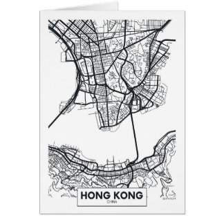 Cartão Mapa preto e branco da cidade de Hong Kong, China