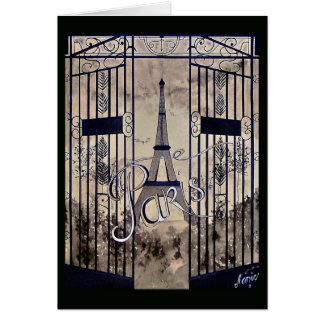 Cartão mapa preto Velha Paris arabescos portal sépia