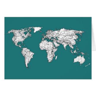 Cartão Mapas do mundo na turquesa