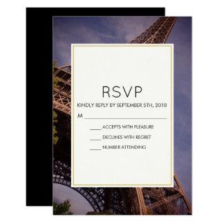 Cartão Marco famoso da torre Eiffel de Paris que Wedding