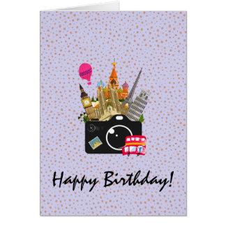 Cartão Marcos europeus com um feliz aniversario da câmera