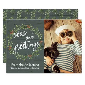 Cartão Mares e foto náutica do Natal dos cumprimentos